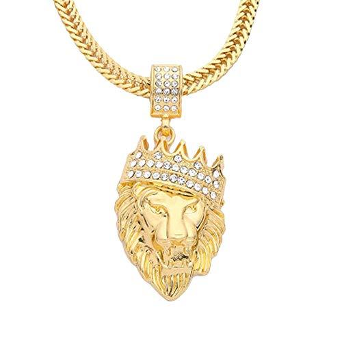 Firally Collana Hip Hop Unisex con Diamante e Testa di Leone Regali di Nozze Regalo CommemorativoSan Valentino Presente(Oro)