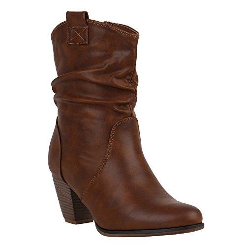 Damen Cowboy Stiefel Western Stiefeletten Leder-Optik Schuhe 151940 Hellbraun Camiri 40 Flandell (Leder Cowboy Western Stiefel)