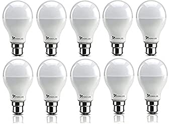 Syska SRL Base B22 9-Watt LED Bulb (Pack of 10, Cool White)