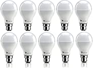 Syska SSK-SRL Base B22 9-Watt LED Bulb (Pack of 10, Cool White)