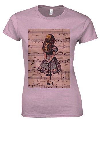 Alice in Wonderland Syllable Light Pink Women T Shirt Top-XXL (Light T-shirt Womens Alice)