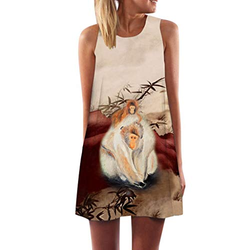 MAYOGO Sommerkleider Damen Casual Ärmellos T-Shirt Kleid Kurzen Blumen Bedrucktes Strandkleider mit Taschen