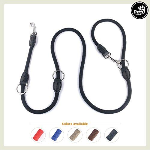 Pets&Partner® Hundeleine aus Nylon/Doppelleine / Geflochten in Verschiedenen Farben für mittelgroße bis große Hunde farblich passend zu Halsband und Geschirr, Schwarz mit silbernen Karabinern