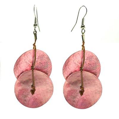 Boucles d'oreilles ethniques légères cordon marron rond nacre rose, bleu turquoise, violettes ou beige écru
