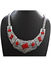 AyA Fashion Designer Traditional Oxidised Silver Necklace With Red Stones | Elegant, Stylish,Trendy Unique Neck...