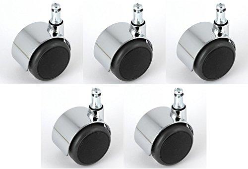 Satz Stuhlrollen Chrom 50 mm Klemmstift 10 ohne Bremse mit PU-Bereifung grau spurlos für harte Böden Hartbodenrolle