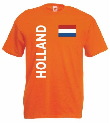 world-of-shirt Holland/Nederland Herren T-Shirt Trikot|orange XXL