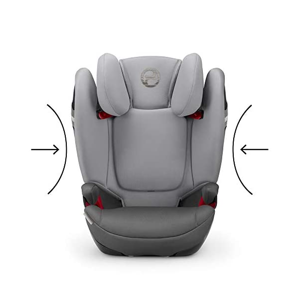 CYBEX Gold Solution S-Fix Child's Car Seat, For Cars with and without ISOFIX, Group 2/3 (15-36 kg), From approx. 3 to approx. 12 years, Lavastone Black  Group 2/3 high back booster seat. suitable from 15 - 36kg. designed to be used until a maximum height of 150cm, approximately 12 years. 3-position optimized reclining headrest prevents the child's head from tipping forwards, and integrated ventilation system keeps them cool. The integrated lisp. system offers increased safety in the event of a side-impact collision by reducing the forces by approximately 25%. 8