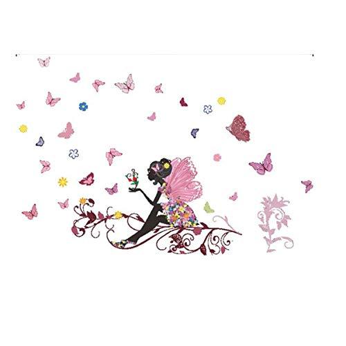 Longra Nouveau Papillon Fleur Stickers Mural 3D Autocollants Fond D'éCran Bijouterie Murale autocollants Chambre Des murs Stickers Autocollant de Mur DIY Art Chambre Ornement Papier (Multicolore)