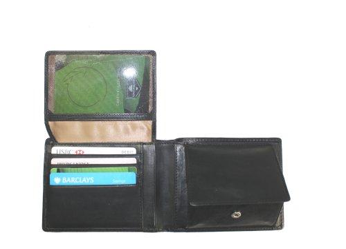 Tony Perotti TP2993G Geldbörse, italienisches pflanzliches Leder, Schwarz -