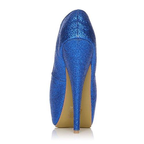 ShuWish UK - Escarpins à Talon Aiguille Très Haut Paillette Orteil Découpé bleus bleu à paillettes