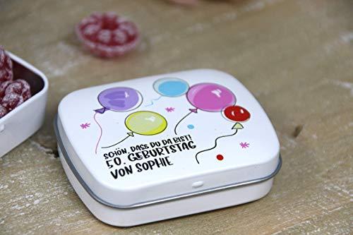 k zum 30. 40. 50. 60. 70. 80. Geburtstag - klein Geschenk für Geburtstagsgäste -direkt bedruckte Döschen - PERSONALISIERT ()