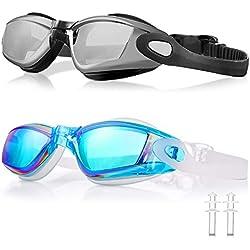 WOLFWILL - Gafas de Natación de Triatlón Sin Fugas, Anti Niebla,Protección UV 400 - Gafas para Piscina con Tapones para los Oídos y Estuche de Protección para Hombres Adultos, Mujeres, Niños.