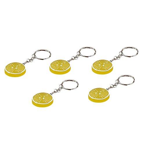 5 Stück Resin (Wansan 5 stücke Lebensmittel Keychain Resin Emulational Hängen Anhänger Schlüsselanhänger für Frauen Mädchen Kinder - Lemon Slice)