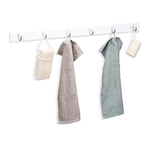 Relaxdays Hakenleiste Bambus, schmal, 6 Metallhaken, dezentes Design, Flurgarderobe, Handtuchhalter, HBT: 6x88x5cm, weiß