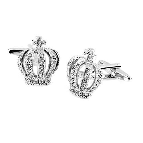ROSENICE Ein Paar Manschettenknöpfe Crystal Strass Krone Geformt (Silber)