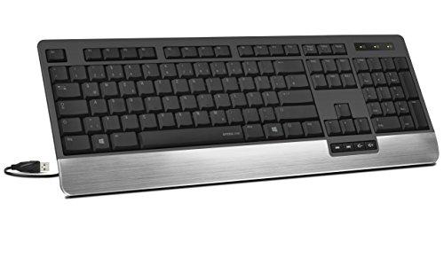 Speedlink LUCIDIS Comfort Keyboard - Tastatur mit USB Anschluss (Edle Aluminium-Handballenauflage - Höhenverstellbar - Treiberlose Installation) für Gaming/PC/Notebook/Laptop, DE Layout schwarz