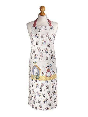 Delantal de Cocina para Mujer Ajustable con Bolsillo, Divertido Diseño de Gato y Casa, Regalo para las Mujeres, Cocineros y Amantes de los Gatos