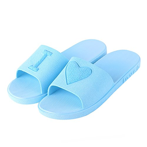 SUDOOK 1Paar Frauen Herren Hausschuhe Badezimmer Sandalen Herz Love Dusche Schuhe rutschfeste Pool Sommer Schlafzimmer Hausschuhe, blau, US-7.5-8=UK-6.5-7=EU-40-41 Spa-kunststoff-pantoffeln