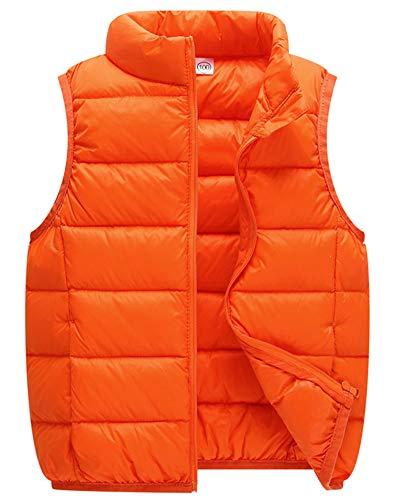 Kinder Daunenweste Mädchen Jungen Ultraleicht Stehkragen Steppweste Vest Ärmellos Down Jacket Orange 170cm