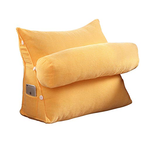 Modenny triangolo divano cuscino posteriore cuscino schienale per letto sedia da ufficio cuscino supporto vita cuscino lettino tv lombare home decor (color : yellow)