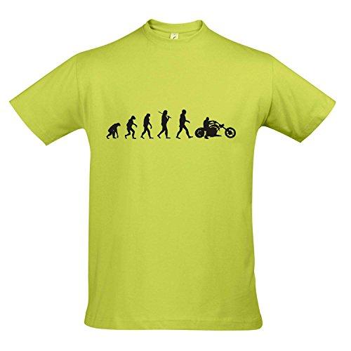 Apple Top Shirt (T-Shirt - EVOLUTION - Motorrad Chopper FUN KULT SHIRT S-XXL , Apple green - schwarz , XXL)