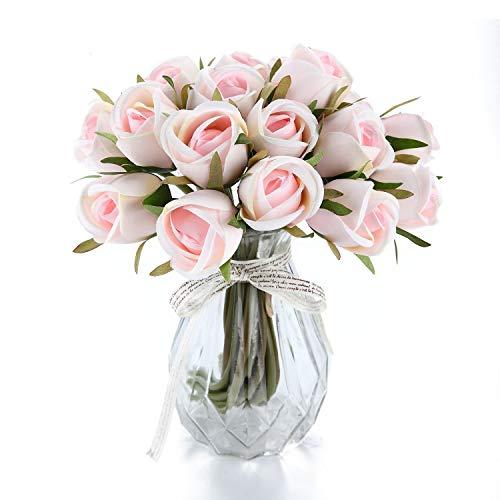 T4U Künstliche Rosen Kunstblumen Strauß Seide Rosa 36er-Set für Wohnung Hochzeit Hotel Restaurant Deko Rosa Strauß