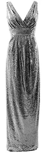 MACloth Gorgeous Long Bridesmaid Dress V Neck Sequin Wedding Party Formal Gown gray