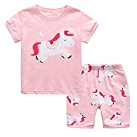 MIXIDON Girls Pajamas Summer Short Sets Sleepwear 100% Cotton Toddler Pjs Clothes Size 2-10 Years
