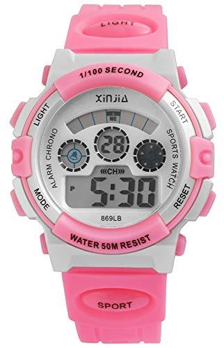 XINJIA - Reloj de Pulsera para Hombre (Digital, Fecha, Alarma, luz, plástico, Silicona, Cuarzo), Color Rosa