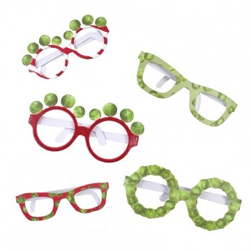 Talking Tables Botanical Christmas Sprout Spectacles for Christmas Day, Dinner and Party, Multicolour (6 Pack)