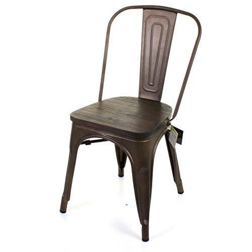 Marko Furniture Roma Metal Dining Chair Stackable Industrial Vintage Seat Bistro Kitchen Garden Chair (4 Chairs, Gun Metal)