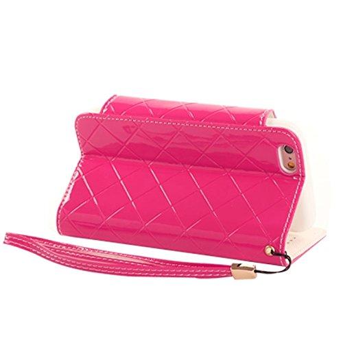 Phone case & Hülle Für iPhone 6 Plus / 6S Plus, Wallet Style Diamond verkrustete Ledertasche mit Lanyard & Card Slots & Geld Tasche ( Color : White ) Magenta