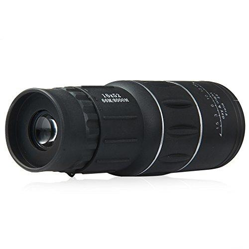 GBlife 16 x 52 Monokular Teleskop mit Dual Focus Zoom optisches Objektiv Tag und Nacht Vision für Outdoor Jagd Reisen Klettern Wandern Birds Scope beobachten (schwarz)