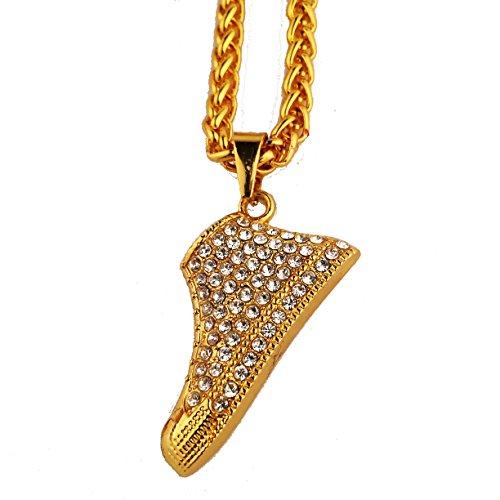 MCSAYS Pendat-Sneaker da uomo, 18 cm, colore: oro, con cristalli,