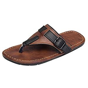 Butchi Men'S Brown Synthetic Thong Sandals(9)
