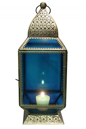Orientalische Laterne aus Metall & Glas Aylin blau 39cm | orientalisches Windlicht | Marokkanische Glaslaterne für innen | Marokkanisches Gartenwindlicht für draußen als Gartenlaterne