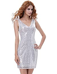 da2025cc2a9 Kate Kasin Flapper Style Shinning Silver Sequins Bodycon V-Neck Pencil  Party Dress