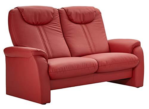 Cavadore 2-Sitzer Sofa Canta mit Relaxfunktion / Couch aus hochwertigem Kunstleder / 161 x 108 x 90 / Lederoptik Rot -