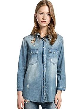 YAANCUN Mujer Bordado De La Vendimia Camisa Vaquera Camisa De Manga Larga De Camiseta Blusa De La