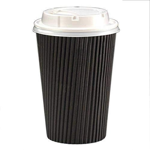We Can Source It Ltd – Tasses à café jetables en Papier 3 Plis Noir 4/8/12/453 g, 4oz - with White Lids
