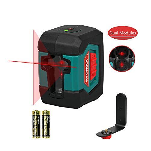 Niveau Laser, HYCHIKA Laser Rotatif avec Deux Module Laser(Alternant Lignes Simples et Doubles) Portée de 15 M 360° Auto Nivelant Commutable avec Support, étui de Protection 2 Piles AA