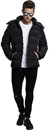 Urban Classics Herren Winterjacke Hooded Puffer Jacket, gefütterte Steppjacke mit Kapuze, hochschließender Reißverschluss Schwarz (Black 7)