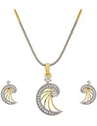 The Luxor Designer White Golden Moon Shaped Pendant Set For Women PS-1303