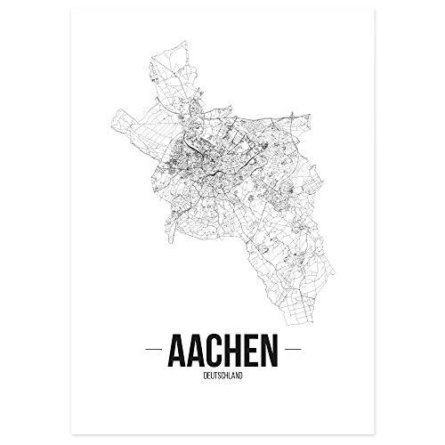 JUNIWORDS Stadtposter - Wähle Deine Stadt - Aachen - 30 x 40 cm - Schrift B - Weiß
