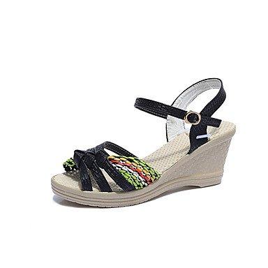 Zormey Damen Sandalen Komfort Im Sommer Pu Casual Keilabsatz Schnalle Zu Fuß US6.5-7 / EU37 / UK4.5-5 / CN37