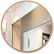 Espejo de baño con Marco Redondo de Madera, Lavabo montado en la Pared, baño