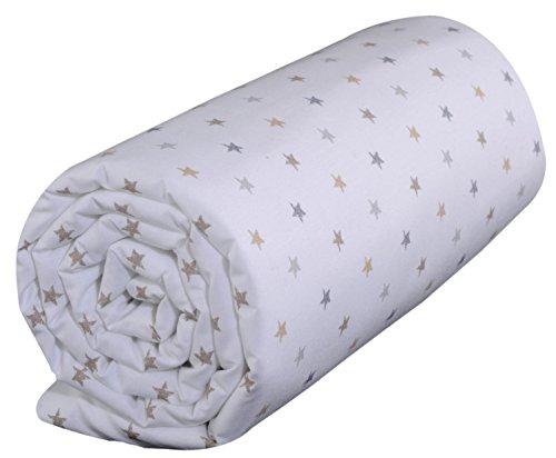 P'tit Basile - Drap housse bébé pour lit et matelas 60x120 cm - bonnets aux 4 coins - coton Bio - 57 fils par cm2 - Imprimé étoiles
