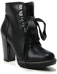 HERIXO Damen Schuhe Stiefeletten Absatz Pumps Highheels geschnürt  Schnürpumps… f806e9f03b