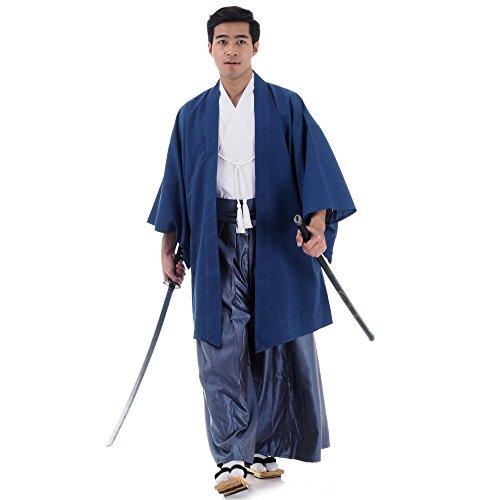 amurai Kimono Set 3 Teile Kendo Gi + Hakama + Haori Baumwolle M L XL (Blau & Weiß & Blaugrau) ()